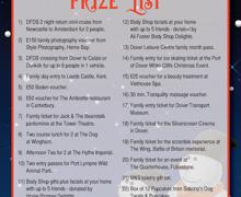 Xmas raffle prize list