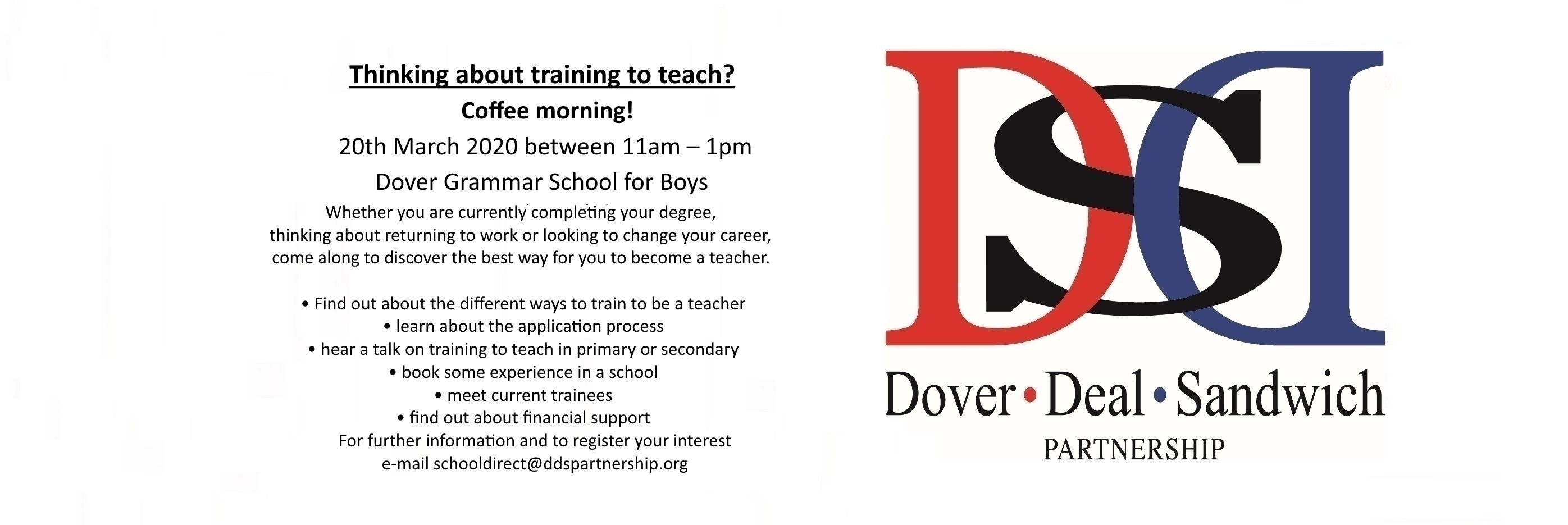 20th March  open morning DGSB